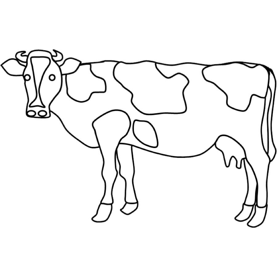 Kostenlose Malvorlage Tiere: Ausmalbild Kuh zum Ausmalen