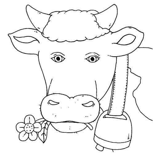 Kostenlose Malvorlage Bauernhof: Kuh mit Glocke zum Ausmalen