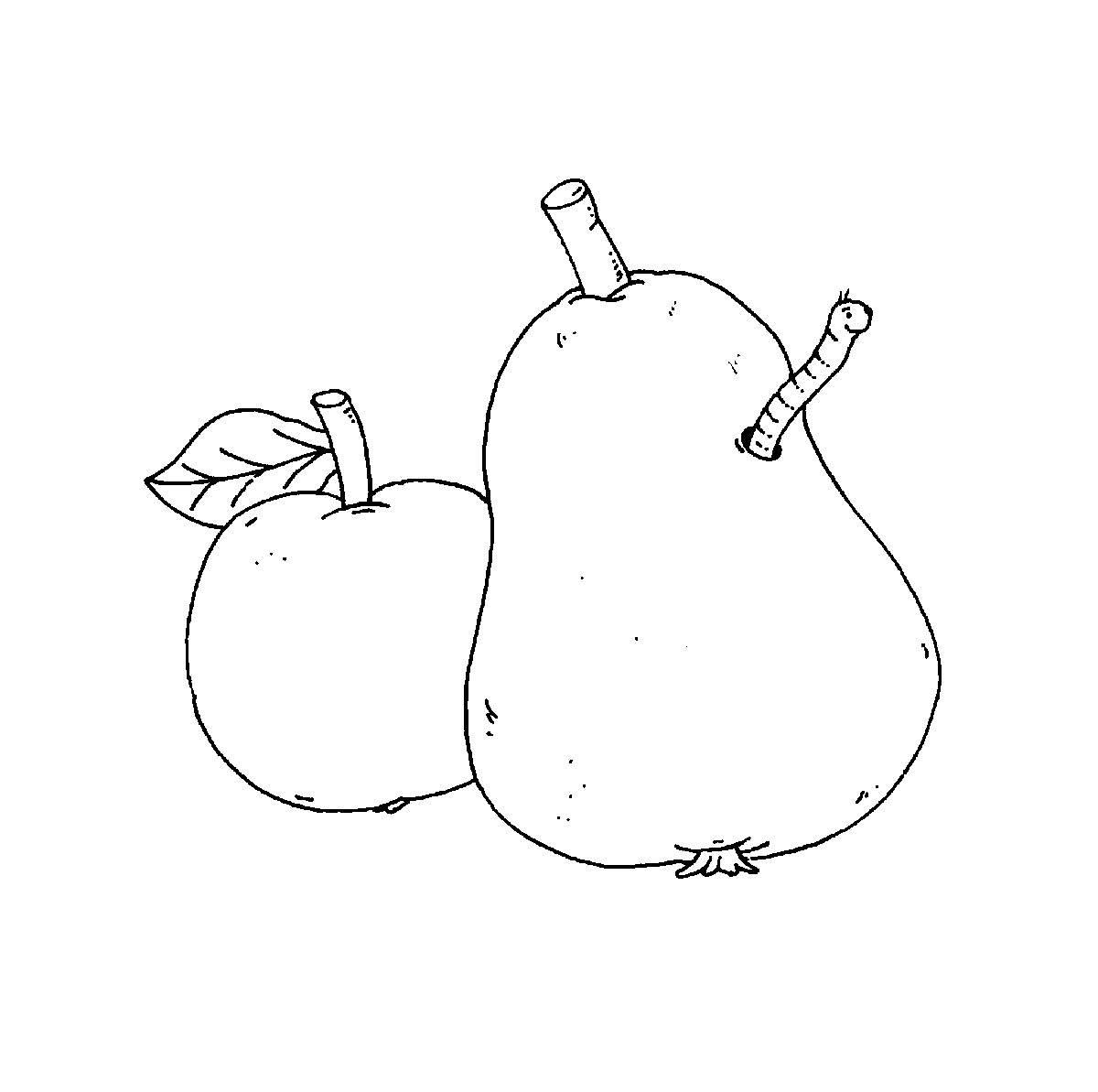 Ausmalbild Bauernhof Apfel Und Birne Kostenlos Ausdrucken