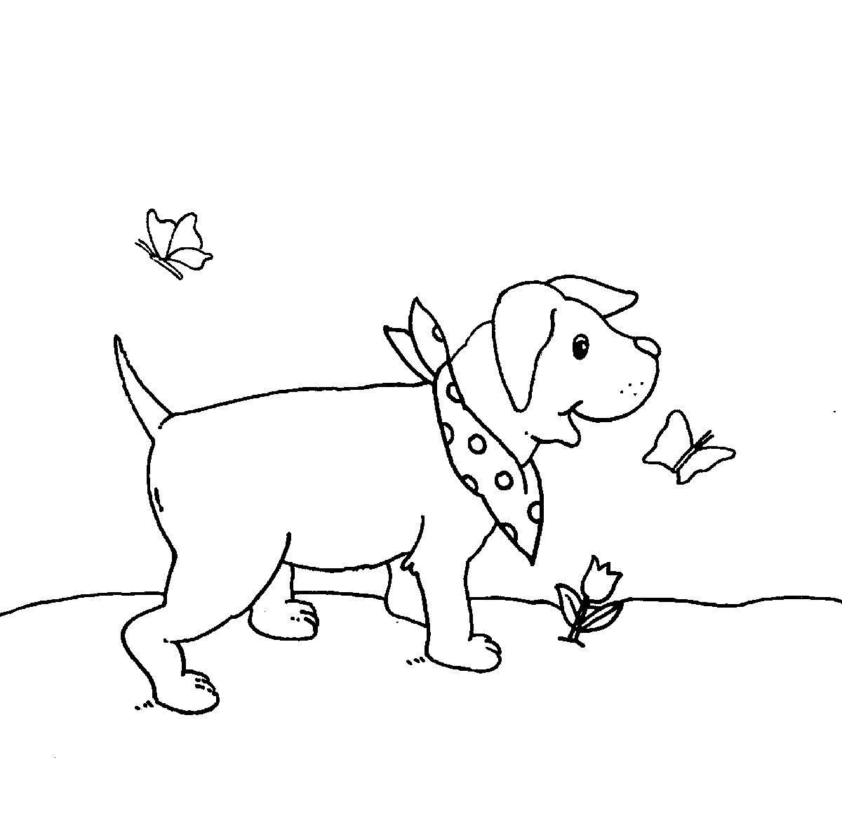 Ausmalbild Bauernhof: Kleiner Hund kostenlos ausdrucken