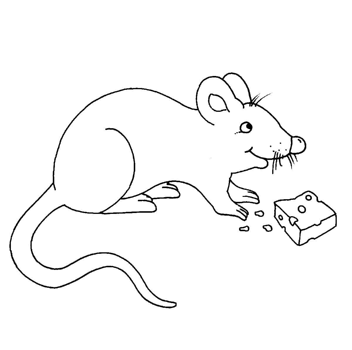 Ausmalbild Bauernhof: Maus mit Käse kostenlos ausdrucken