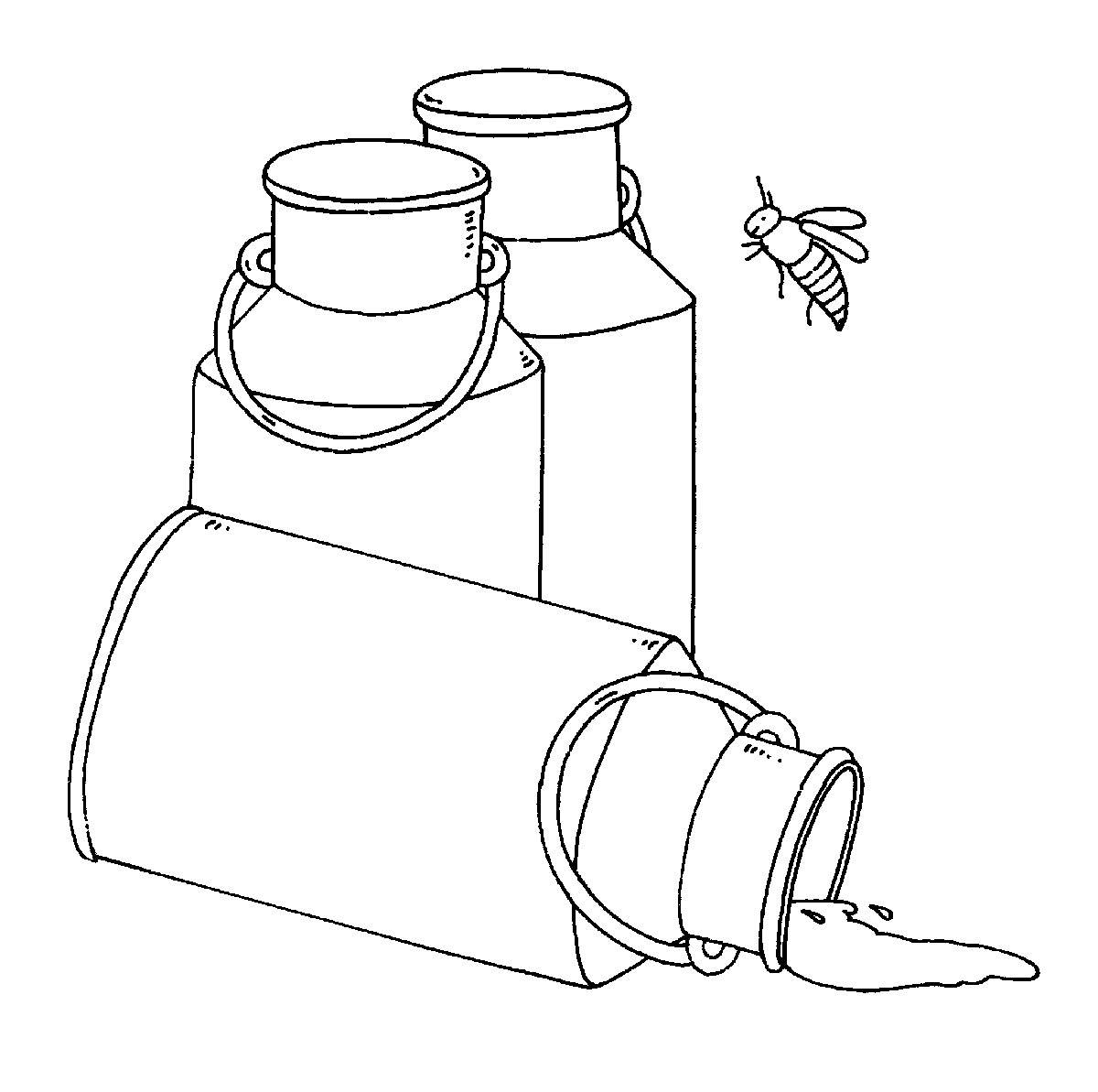 Ausmalbild Bauernhof: Milchkannen kostenlos ausdrucken