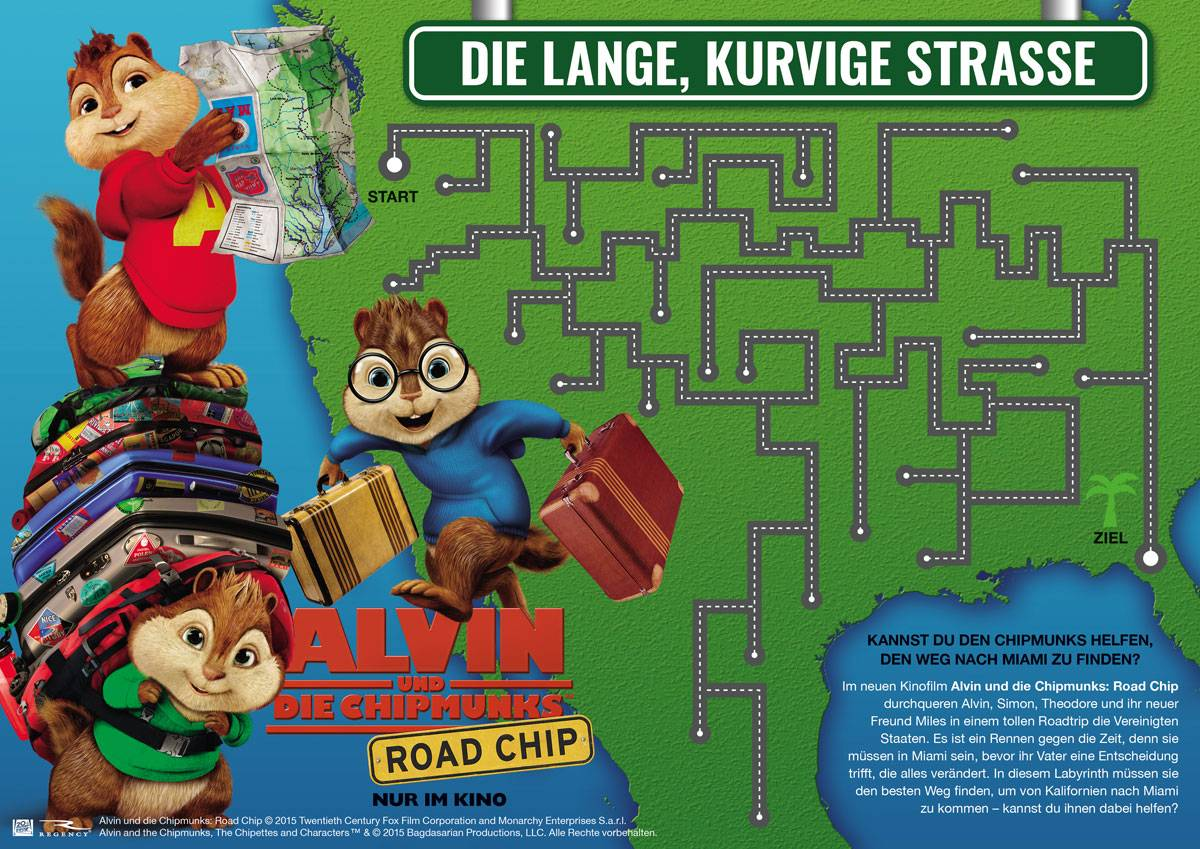 Ausmalbild Labyrinthe für Kinder: Alvin und die Chipmunks: Weg nach ...