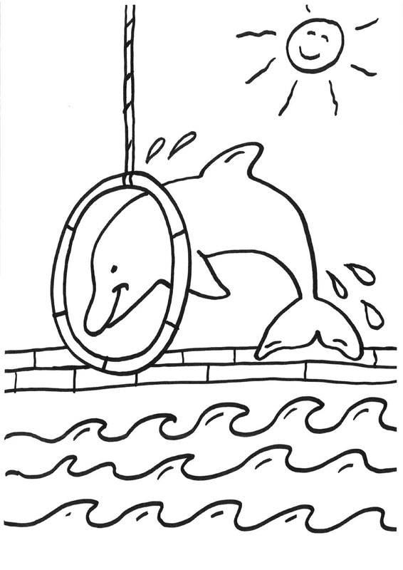 Ausmalbild Delfine und Wale: Delfin-Show kostenlos ausdrucken