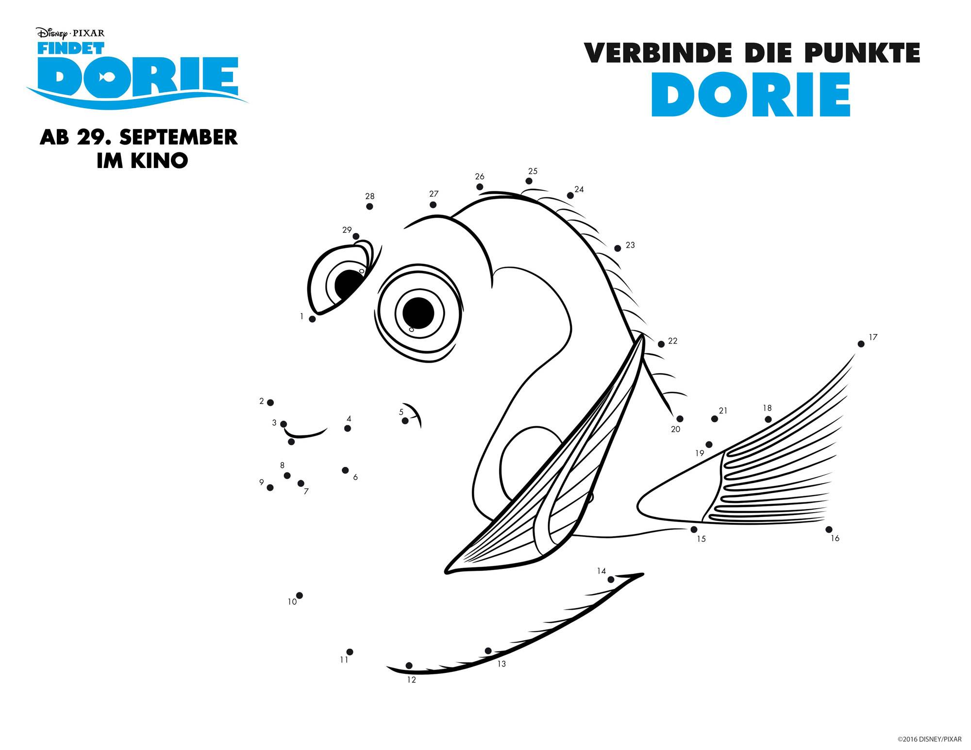 Ausmalbild Malen nach Zahlen: Findet Dorie: Dorie kostenlos ausdrucken