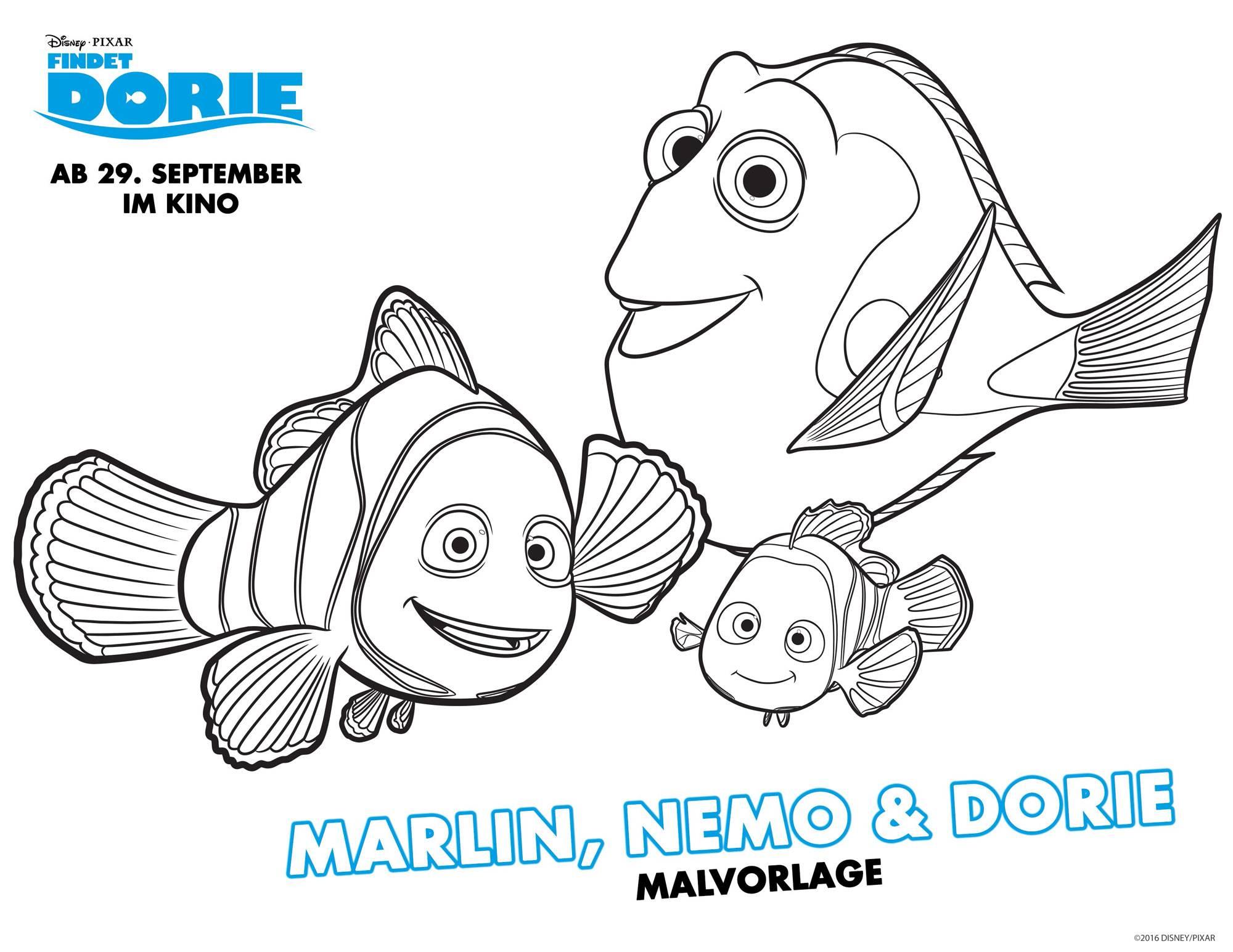 Ausmalbild Findet Dorie: Findet Dorie: Marlin, Nemo & Dorie ...