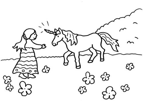 Kostenlose Malvorlage Einhörner Einhorn Und Prinzessin Zum Ausmalen