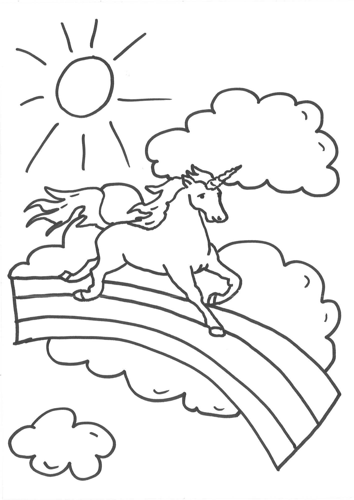Kostenlose Malvorlage Einhörner Einhorn auf dem Regenbogen zum Ausmalen