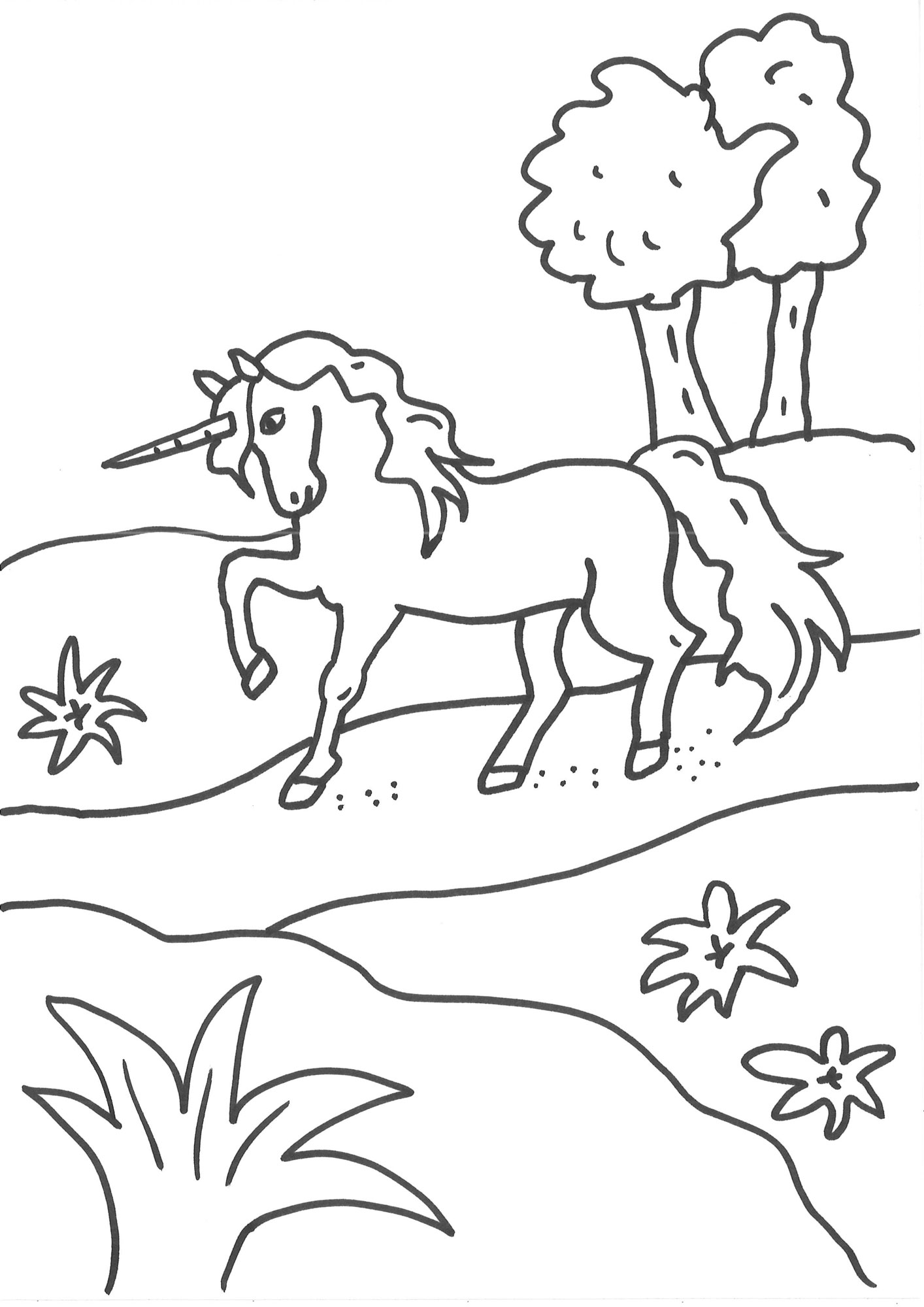 Ausmalbild Einhörner: Einhorn auf dem Weg kostenlos ausdrucken