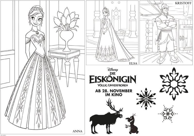Ausmalbild Die Eiskönigin Die Eiskönigin Anna Elsa Und Kristoff