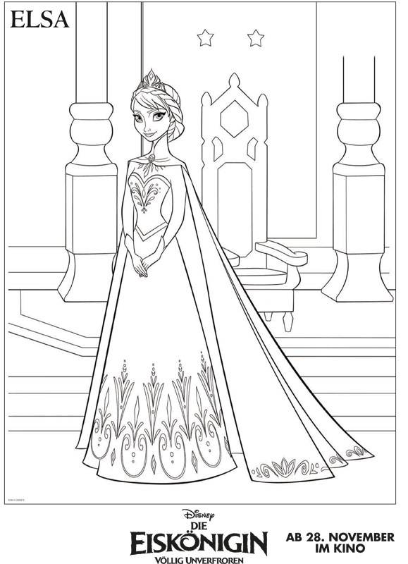 Ausmalbild Die Eiskönigin: Die Eiskönigin: Elsa kostenlos ausdrucken