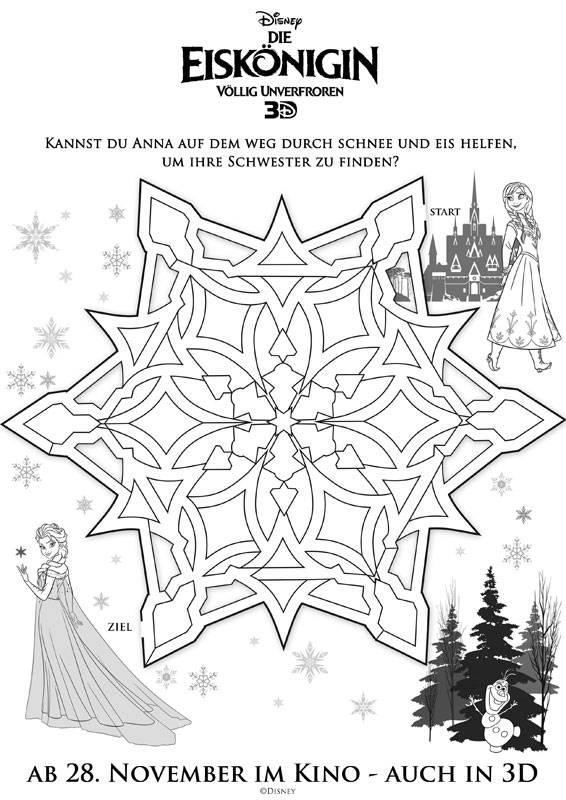 Ausmalbild Labyrinthe Für Kinder Die Eiskönigin Anna Und Elsa