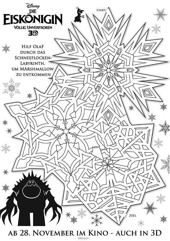 Ausmalbild Labyrinthe Für Kinder Die Eiskönigin Olaf Kostenlos