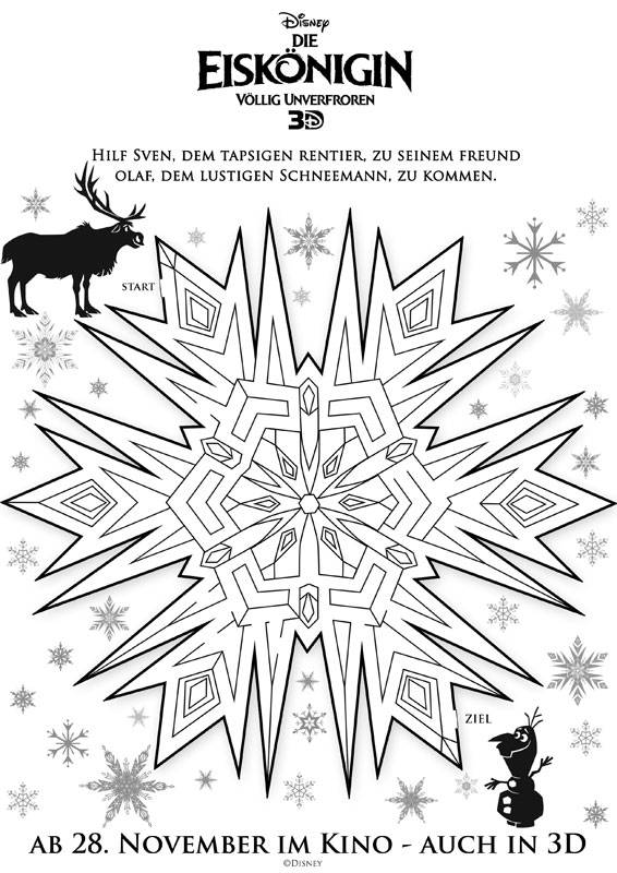 Ausmalbild Labyrinthe Fur Kinder Die Eiskonigin Sven Kostenlos