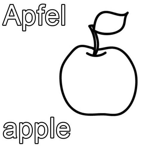 kostenlose malvorlage englisch lernen apfel  apple zum