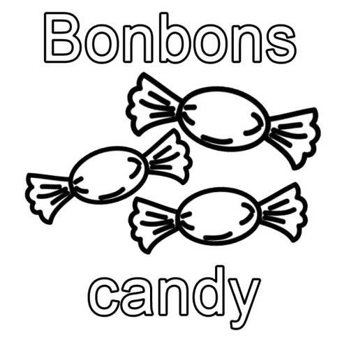 Kostenlose Malvorlage Englisch Lernen Bonbons Candy Zum Ausmalen