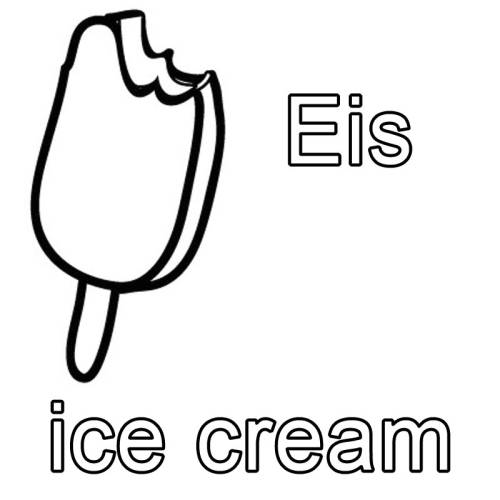 Kostenlose Malvorlage Englisch Lernen Eis Ice Cream Zum