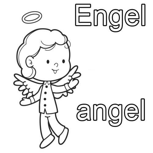 kostenlose malvorlage englisch lernen engel  angel zum