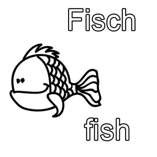 Kostenlose Malvorlage Englisch lernen: Fisch - fish zum Ausmalen