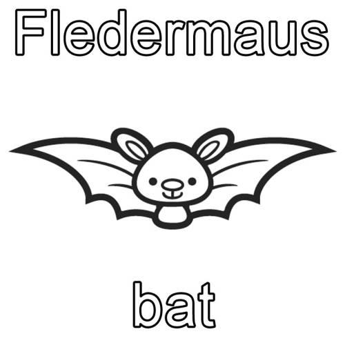 kostenlose malvorlage englisch lernen fledermaus  bat