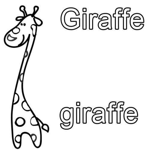 kostenlose malvorlage englisch lernen giraffe giraffe