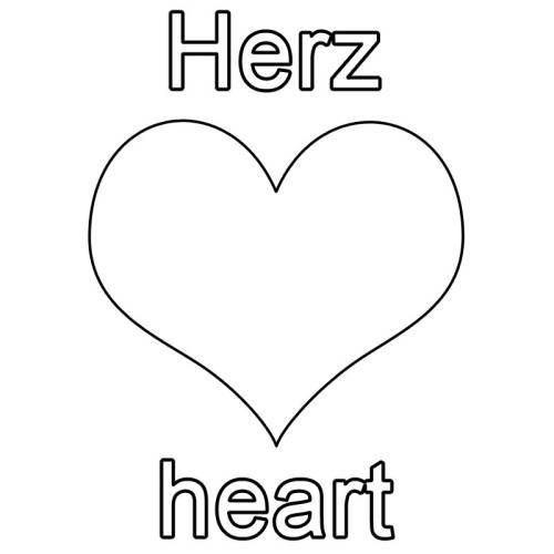 kostenlose malvorlage englisch lernen herz  heart zum