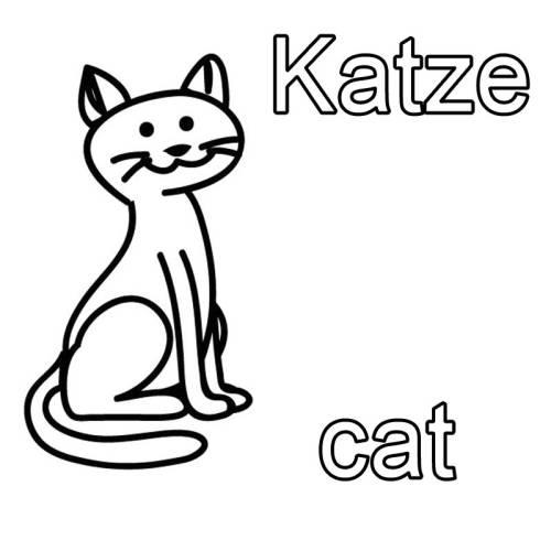kostenlose malvorlage englisch lernen katze cat zum. Black Bedroom Furniture Sets. Home Design Ideas