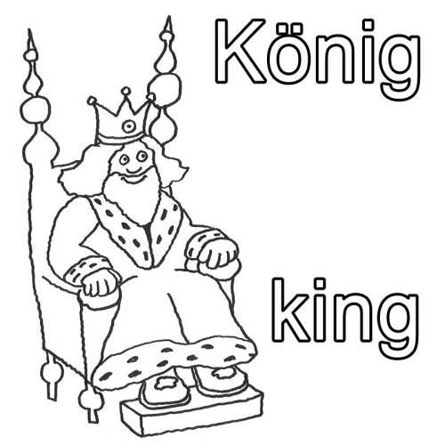 kostenlose malvorlage englisch lernen könig  king zum