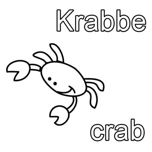 Kostenlose Malvorlage Englisch Lernen Krabbe Crab Zum Ausmalen