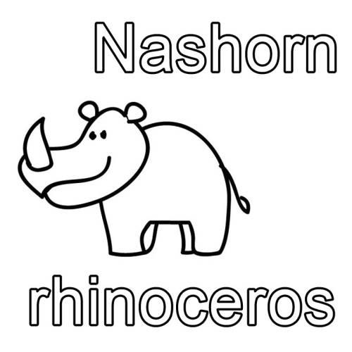 Kostenlose Malvorlage Englisch Lernen Nashorn Rhinoceros Zum Ausmalen