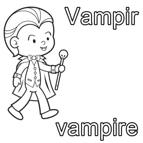 kostenlose malvorlage englisch lernen vampir  vampire
