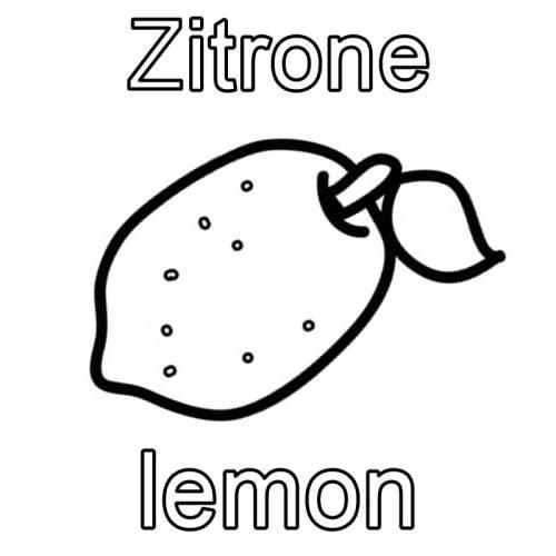Kostenlose Malvorlage Englisch lernen: Zitrone - lemon zum Ausmalen