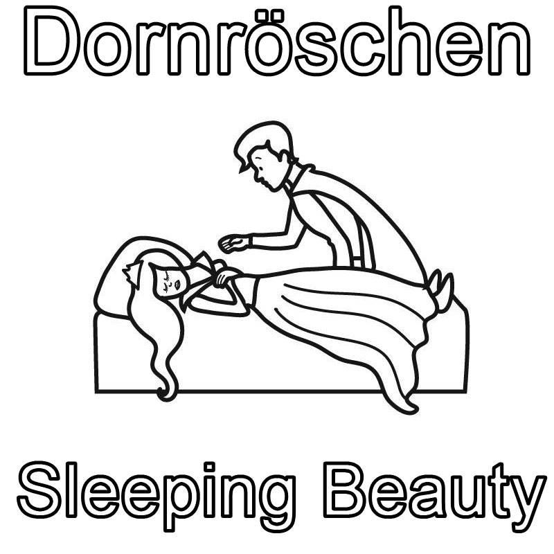 Ausmalbild Englisch Lernen Dornröschen Sleeping Beauty Kostenlos