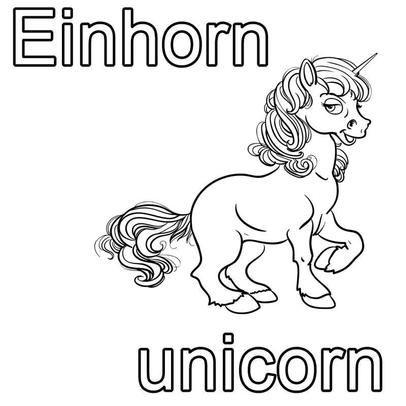 Ausmalbild Englisch Lernen Einhorn Unicorn Kostenlos Ausdrucken