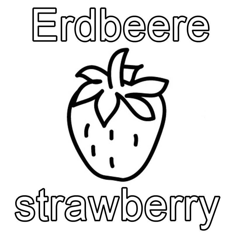 kostenlose malvorlage englisch lernen erdbeere strawberry zum ausmalen. Black Bedroom Furniture Sets. Home Design Ideas
