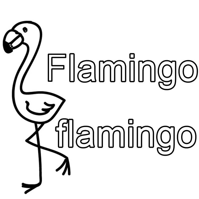 ausmalbild englisch lernen flamingo flamingo kostenlos. Black Bedroom Furniture Sets. Home Design Ideas