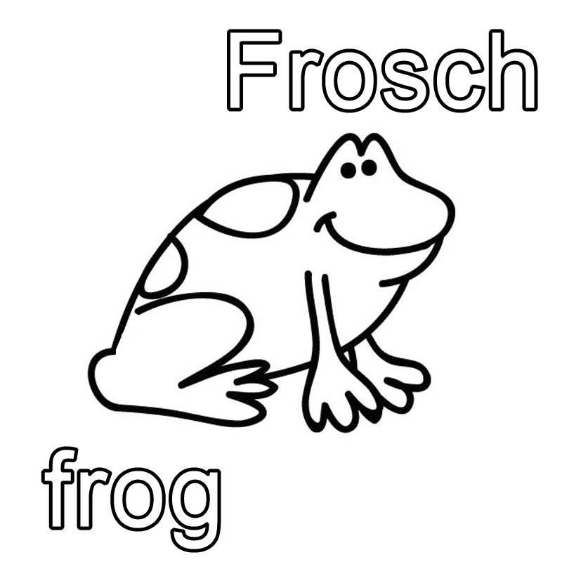 Ausmalbild englisch lernen frosch frog kostenlos ausdrucken - Frosch englisch ...