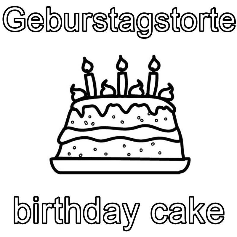 Ausmalbild Englisch lernen: Geburtstagstorte - birthday cake ...