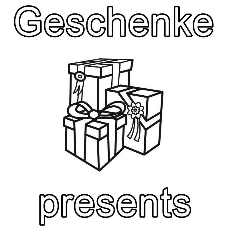 ausmalbild englisch lernen geschenke presents kostenlos ausdrucken. Black Bedroom Furniture Sets. Home Design Ideas