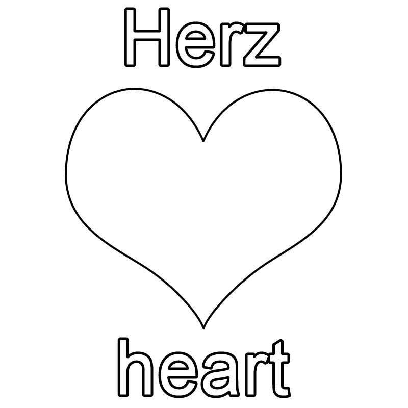 ausmalbild englisch lernen herz  heart kostenlos ausdrucken