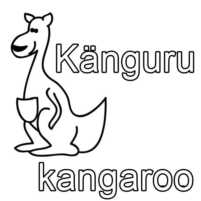 kostenlose malvorlage englisch lernen k nguru kangaroo. Black Bedroom Furniture Sets. Home Design Ideas