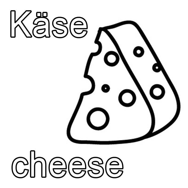 kostenlose malvorlage englisch lernen käse  cheese zum