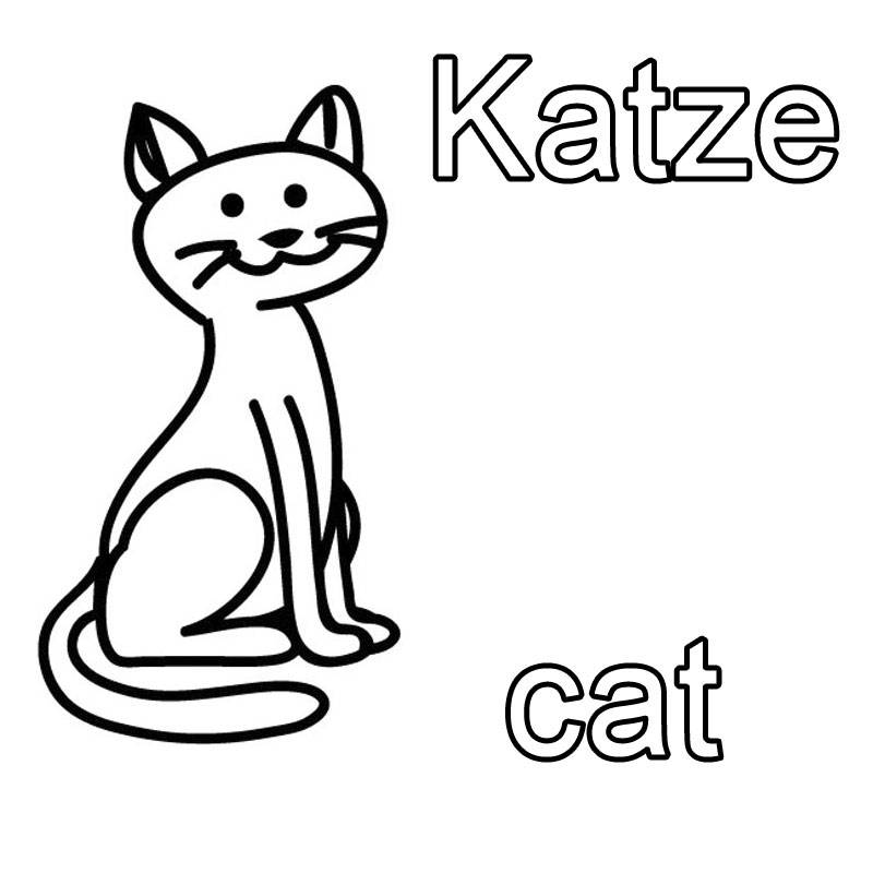 kostenlose malvorlage englisch lernen katze cat zum ausmalen. Black Bedroom Furniture Sets. Home Design Ideas