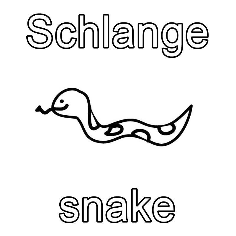 Kostenlose Malvorlage Englisch lernen: Schlange - snake zum Ausmalen