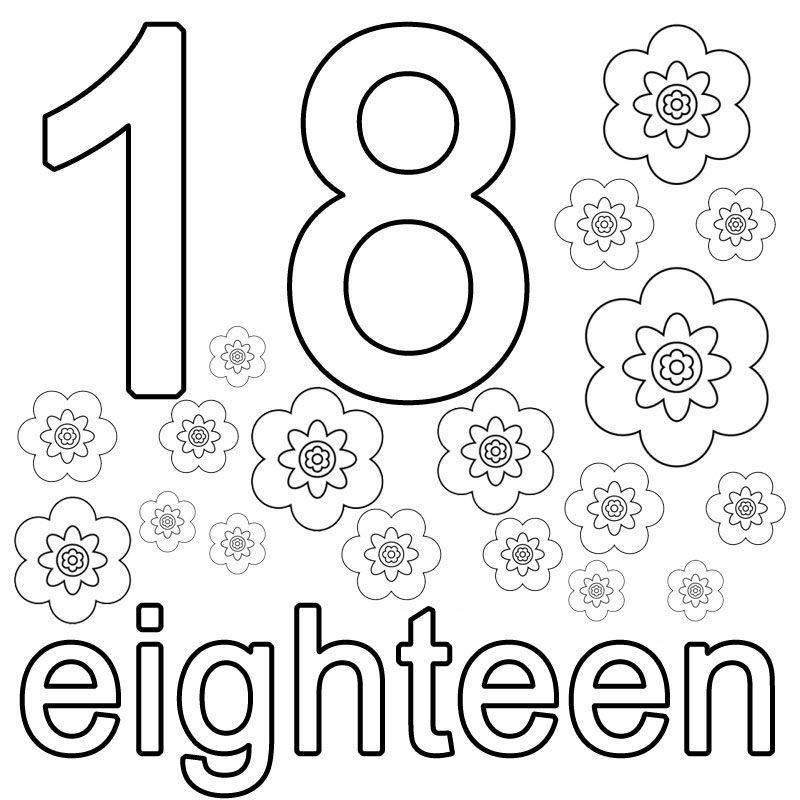 Ausmalbild Englisch Lernen Eighteen Kostenlos Ausdrucken