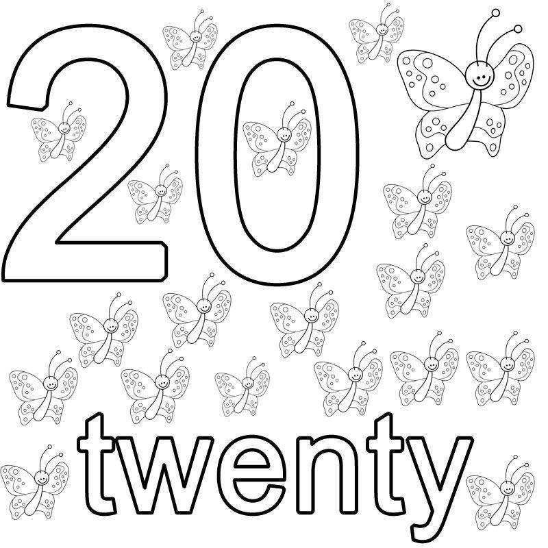 kostenlose malvorlage englisch lernen twenty zum ausmalen. Black Bedroom Furniture Sets. Home Design Ideas