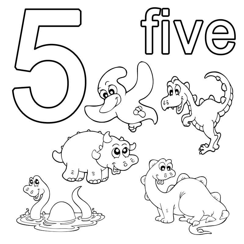Kostenlose Malvorlage Englisch Lernen Five Zum Ausmalen