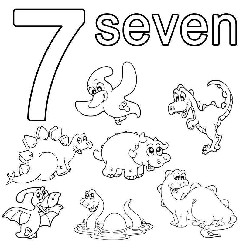 Ausmalbild Englisch Lernen Seven Kostenlos Ausdrucken