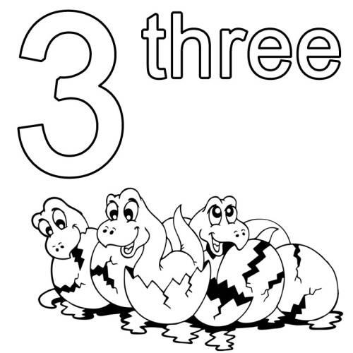 kostenlose malvorlage englisch lernen three zum ausmalen. Black Bedroom Furniture Sets. Home Design Ideas