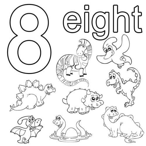 kostenlose malvorlage englisch lernen eight zum ausmalen